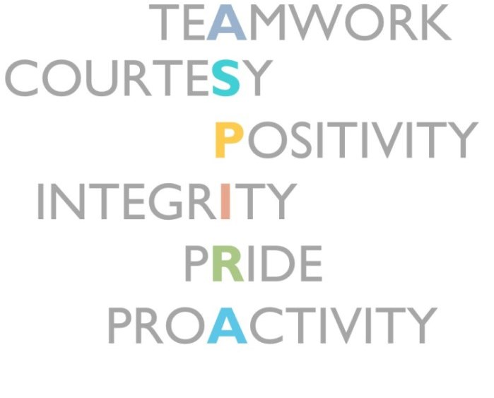 Our values include Teamwork, Courtesy, Positivity, Integrity, Pride, Proactivity